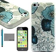 coco fun® fiore blu di viti modello tpu caso della copertura posteriore con la protezione dello schermo e lo stilo per iPhone 5c