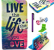 vivere la vita che ami modello pu custodia in pelle con la spina anti-polvere e lo stilo e stand per Wiko arcobaleno