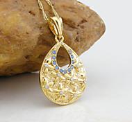 18K Golden Plated Water Drop Zircon Pendant Necklace