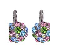 Women Hot Sale Fashion Brand Design Multicolor Rhinestone Silver Plated Clip Earrings For Girls