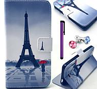 Torre Eiffel e il modello pu custodia in pelle ragazza con la spina anti-polvere e lo stilo e stand per Wiko fuga