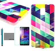 Coco Fun® modelo del diamante colorido cubierta TPU funda blanda con protector de pantalla y el lápiz para Samsung Galaxy Note 4