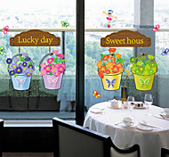 Sweet Lucky Flowerpot PVC Wall Stickers Wall Art Decals