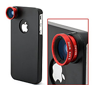 Apexel 3 in 1 Camera Lens Kit Fish Eye Lens, Wide Angle + Macro Lens for Apple iPhone 4 4S(Assorted Color)