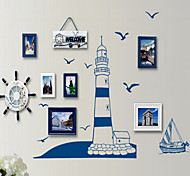 Blue Sailing Ship Photo Frame PVC Wall Sticker