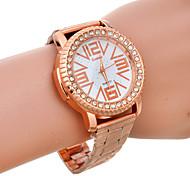 Unisex's Fashion Rhinestone Big Number Dial Rose Gold Quartz Watch