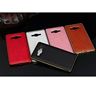Special Design Solid Color PU Leather Metal Bumper for Samsung Galaxy A3 (Assorted Colors)