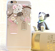 Diamond Bird Cage Painting Transparent Plastic Case for iPhone 6