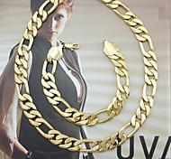 18K Golden Plated Figaro Chain Necklace+Bracelet Jewelry set