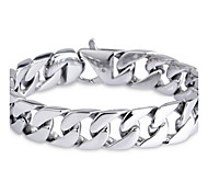 Fashionable L:22CM W:1.5CM Stainless Steel 316L Silver Men Link Bracelet