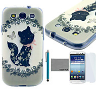 COCO FUN® Cute Black Kitty Pattern Soft TPU Back Case Cover with Screen Protector and Stylus for Samsung Galaxy S3 I9300