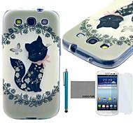 patrón del gatito negro lindo del tpu suave de coco Fun® cubierta de la caja con el protector de pantalla y lápiz para Samsung Galaxy S3