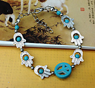 Europe And The American Style Of Bohemia Peace Hollow Palm Turquoise Bracelet