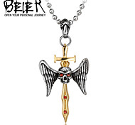 Man's Jewelry red CZ Stainless Steel Warrior GOLD Sword Pendant Popular Fashion Man's Accessories