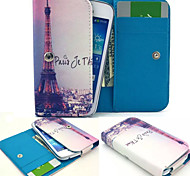 Paris Eiffel Tower PU Leather Wallet style Full Body Case and Card Slot for Samsung Mobile Size<12.3*6.5*2