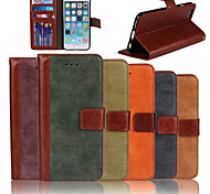 Genuine Matte Nubuck Cowhide PU Leather Flip Cover Wallet Card Slot Case with Stand for iPhone 6 (Assorted Colors)