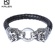 Kalen Men's Jewelry Stainless Steel Personalized Braided Leather Bracelet