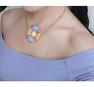 Color Gem Short Paragraph Necklaces 1pc
