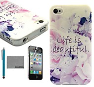 COCO FUN® Life Is Beautiful Pattern Soft TPU Back Case Cover with Screen Protector and Stylus for iPhone 4/4S