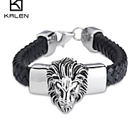 Kalen Men's Jewelry Stainless Steel And Leather Bangles