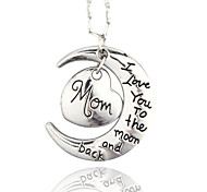 Vilam® I Love You To The Moon And Back Mom Zinc Alloy Silver Shining Necklace
