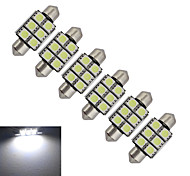 JIAWEN® 6pcs Festoon 36mm 1.5W 6x5050SMD 100-150LM 6000-6500K Cool White Light LED Car Light (DC 12V)