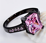 High Quality Fashion Women's Black Gold 10 KT Cubes Zircon Pink Ring