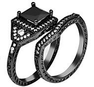 High Quality Fashion Women Square Drill Zircon Two Rings