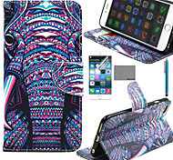 COCO FUN® Purple Elephant Tribal Pattern PU Leather Case with Screen Protector and Stylus for iPhone 6