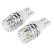 T10 0.5W 100lm 8000k 1-LED Straw Hat Lamp Bead Cool White Light Car Turn Signal/Width Lamp/Instrument Lamp(12V, 1-Pair)