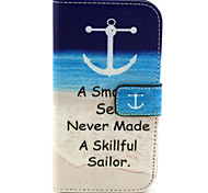 Anchor Pattern PU Leather Case with Magnetic Snap and Card Slot for Alcatel One Touch Pop C7