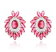 High Quality Fashion Women Leaf Shape Zircon Earrings