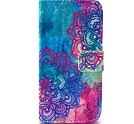 Beautiful Mandala Flower Pattern PU Leather Full Body Case with Card Slot for Samsung Galaxy S5 Mini