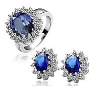 Arinna Fashion Jewelry Set Women 18k white Gold Plated w blue Rhinestone Ring& Earrings Gift set G1360#3#8