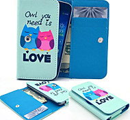 Lover Owl Wallet Pattern PU Leather Case Card Money for Samsung Mobile Size<14.6*8*2.2