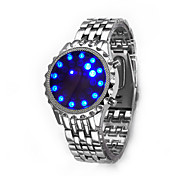 Men's New Round Dial Steel Strap Binary LED Sports Luminous Watch