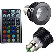 1pcs SchöneColors B22 2 Million Colors Dimmable/32Keys Remote-Controlled/Decorative RGB LED SpotLights AC 85-265 V