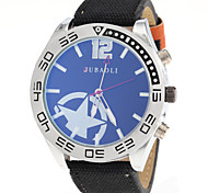 Men's Star Pattern Fabric Band Quartz Wrist Watch