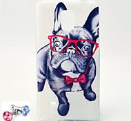 teste padrão do cão óculos TPU macio com ficha anti-poeira para samsung glaaxy nota 4
