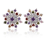 High Quality Fashion Women Snowflakes Shape Zircon Earrings