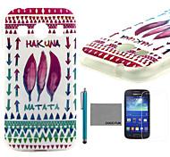 coco Fun® Feder Stammesmuster weicher tpu zurück Fall mit Screen Protector und Stylus für Samsung Galaxy Ace 4 g357fz