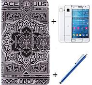 große schwarze Blumenmuster PU-Leder Ganzkörper-Fall mit Film und Kapazität Stift für Samsung-Galaxie großen prime g530h