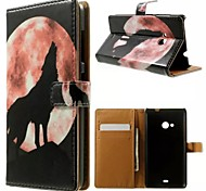 Moon Wolf Howl Pattern Wallet Card PU Case with Stand for Microsoft Lumia 535