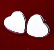 Simple Heart Shape 925 Silver Stud Earrings(2Pc)