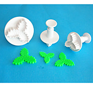 FOUR-C Plastic Three Leaf Holly Fondant Cake Decorating Plunger Cutters,High Quality Fondant Tools