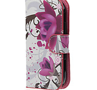 Lotus Flower PU Leather Case Cover with Stand and Card Slot for Samsung Galaxy Xcover 2 S7710