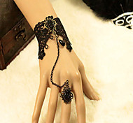 Europe and The United States of Ancient Female Black Lace Bracelet Ring Set