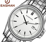 EASMAN Men's White Sapphire Dial Round Shape Stainless Steel Swiss Movement Quartz Wristwatch