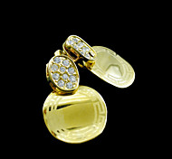 18K Real Gold Plated G Lines Zircon Circular Earrings 1 Pair
