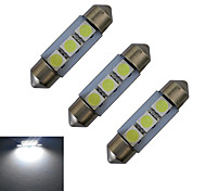 JIAWEN® 3pcs Festoon 36mm 1W 3x5050SMD 60LM 6000-6500K Cool White Reading Light LED Car Light (DC 12V)